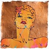 kate by C R U S H, Drawing, gloss paint & copper leaf on handmade paper framed in white